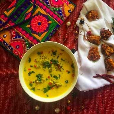 Photo of Cabbage Pakora kadhi from Rajasthani Gharana by Debjani Dutta at BetterButter