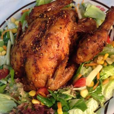 Photo of Zatar and Garlic roast Chicken served with Garden salad by Afroz Shaikh at BetterButter