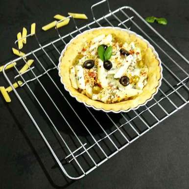 Photo of Spinach white sauce pasta in a tart by Alka Munjal at BetterButter
