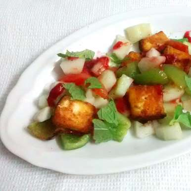 Photo of PANEER TIKKA AND VEGETABLE SALAD WITH STRAWBERRY PUREE by Amina Khaleel at BetterButter
