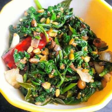 Spinach stir fry recipe in Telugu,పాలకూర వేపుడు, Anitha Rani