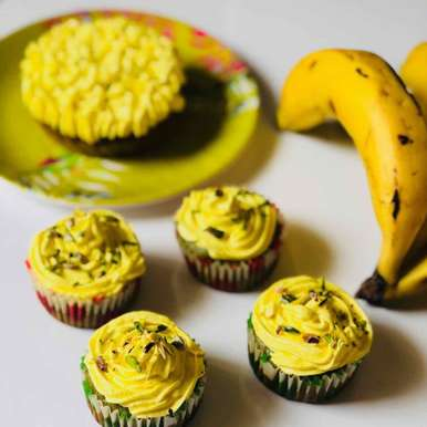 Photo of spinach banana cupcakes by Anjali Valecha at BetterButter