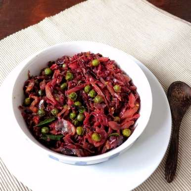 Photo of Purple cabbage and peas stir fry by Anjana Chaturvedi at BetterButter