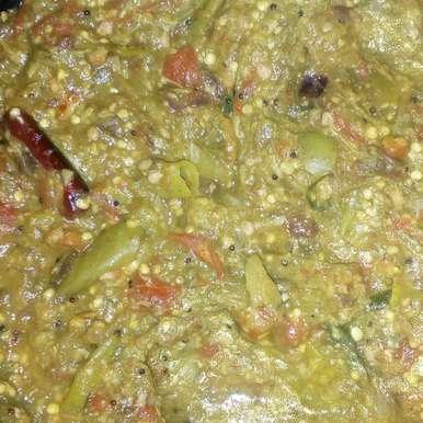 Brinjal ladies finger chutney recipe in Telugu,వంకాయ బెండకాయ పచ్చడి , annapurna jinkala