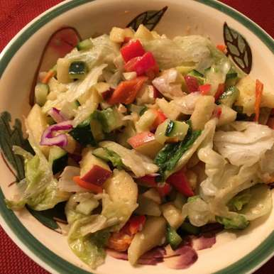 Photo of Refreshing Lettuce Salad with apples, cucumber and roasted peppers by Antara Navin at BetterButter