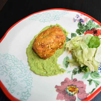 Photo of Spicy Salmon in Cauliflower Parmesan Crust with Green Peas Pesto by Antara Navin at BetterButter