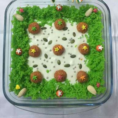 Photo of Truffle pudding ( baked curd, green sweetened rice and sweetened carrot balls) by Anupama kamra at BetterButter