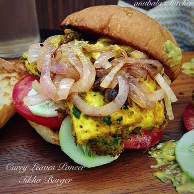 Curry Leaves Paneer Tikka Burger, How to make Curry Leaves Paneer Tikka Burger