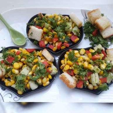 Sweetcorn bread chat recipe in Telugu,స్వీటీకార్న్ బ్రెడ్ చాట్, Aparna Reddy