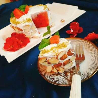 Photo of Juicy Watermelon Cake With Greek Yogurt & Crunchy Almond Frosting  by Archana Srivastav at BetterButter