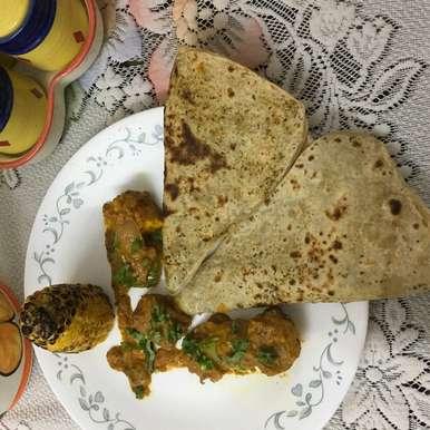 Photo of Pudina Paratha / Mint Paratha with Paneer Tikka Masala and Grilled Corn by Archana Sudarsan at BetterButter