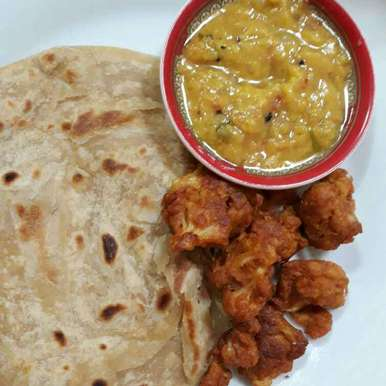 Photo of Wheat parotta,dal& gobi fry by Asiya Omar at BetterButter