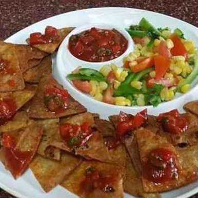 Photo of Roti nachos with corn salad and tomato salsa by Avani Desai at BetterButter