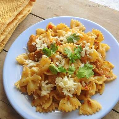 Photo of Chicken Pasta in Red wine -Tomato Sauce by Babitha Costa at BetterButter