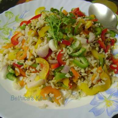 Photo of Brown Rice Salad with Bell Peppers & Sprouts by Bethica Das at BetterButter