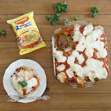 Photo of Maggi noodles Spinach and Mushroom Lasagna by BetterButter Editorial at BetterButter