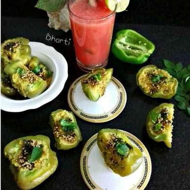 Dhokla Simala Mirch recipe in Gujarati, ઢોકળા શિમલા મિર્ચ, Bharti Khatri