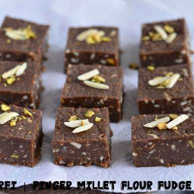 Photo of Nachni Barfi With Peanut Butter Recipe | Finger Millet Flour Fudge | Indian Festive sweet by Bhawana Singh at BetterButter