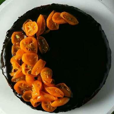 Photo of Dark Chocolate cake with Candied Kumquats by Bobby Kochar at BetterButter