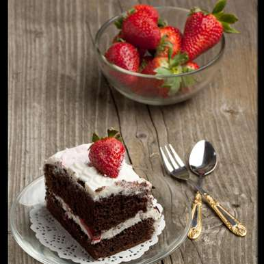 Photo of Eggless Chocolate Cake with Strawberries by Bindiya Sharma at BetterButter