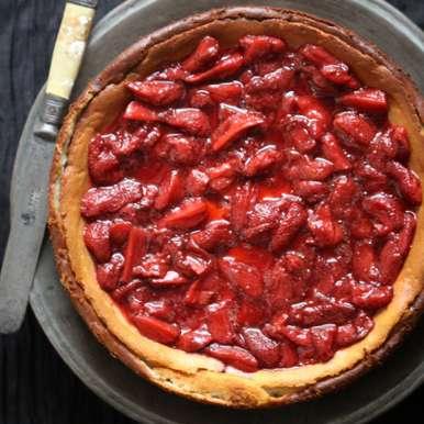 Photo of Quark Vanilla Cheesecake with Roasted Balsamic Strawberries by Deeba Rajpal at BetterButter
