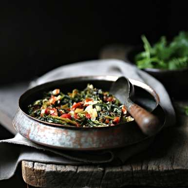 Photo of Baby Mustard Greens Indian Stir Fry by Deeba Rajpal at BetterButter