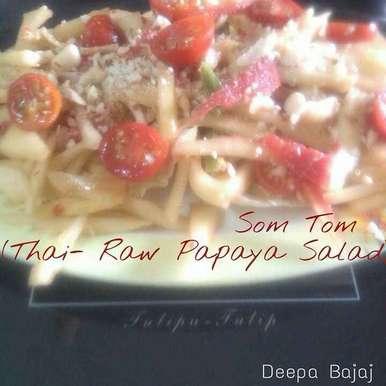Photo of Som Tam (Raw Papaya Salad) by Deepa Bajaj at BetterButter