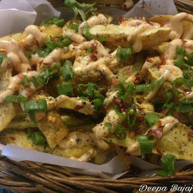Photo of Crispy Potato Wedges with tangy Mayo by Deepa Bajaj at BetterButter