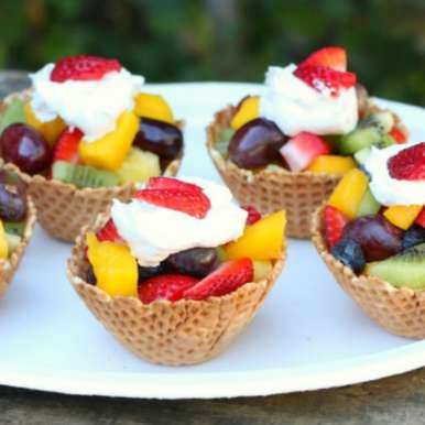 Photo of Fruity Waffle Cup Ice Cream by fahima patel at BetterButter