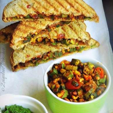 Photo of Crunchy Bhendi Grilled Sandwiches by Farheen Banu at BetterButter