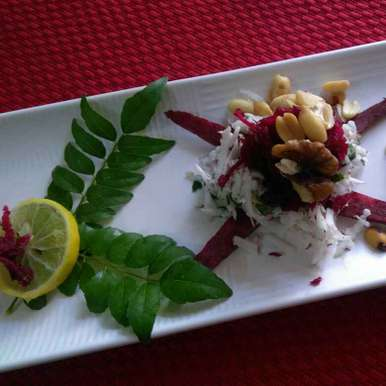 Raw beetroot, coconut, peanut and walnut salad, How to make Raw beetroot, coconut, peanut and walnut salad