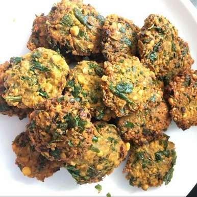 Amaranath leaves vada recipe in Telugu,తోటకూర సెనగపప్పు వడలు, Harini Balakishan