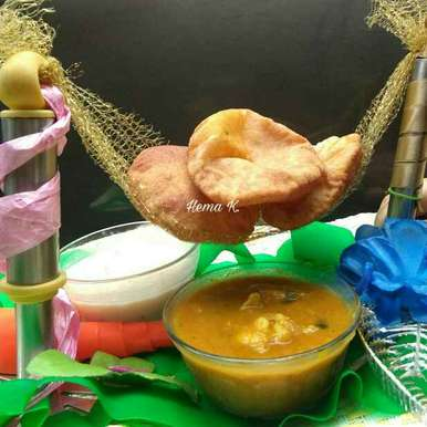 Traditional Spiced Potato Curry with masala poori and Boondi Raita, How to make Traditional Spiced Potato Curry with masala poori and Boondi Raita