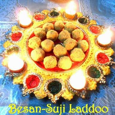 Photo of Besan-Suji Laddoo (Semolina and Chickpea flour Laddoo) in Microwave by Indrani Dhar at BetterButter