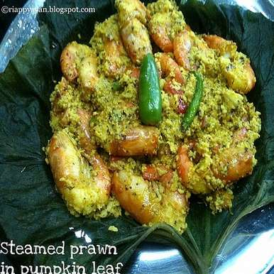 Photo of Kumro Patay Chingri Mach Bhape - Prawns steamed inside Pumpkin Leaves by Indrani Dhar at BetterButter