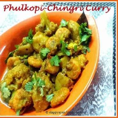 Photo of Chingri Diye Phulkopir Dalna (Potato-Cauliflower curry with prawns) by Indrani Dhar at BetterButter