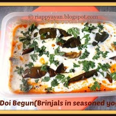 Doi Begun (Brinjal slices dipped in seasoned yogurt) , How to make Doi Begun (Brinjal slices dipped in seasoned yogurt)