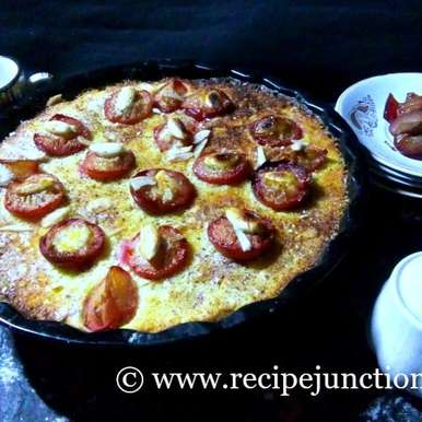 Photo of Plum Tart with ricotta cheese filling and topped with fresh Plums and almonds by Indrani Dhar at BetterButter