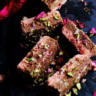 Photo of Chocolate and Rose Indian Milk Cake by Jagruti D at BetterButter