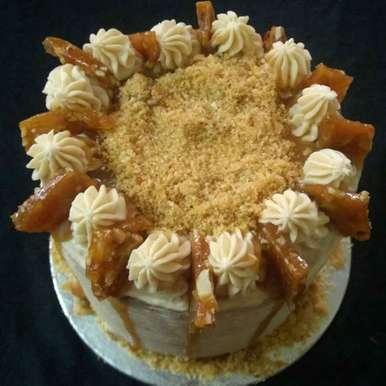 Photo of Salted Caramel Butter Cream Cake with Almond-Cashew Praline by Jaya Rajesh at BetterButter