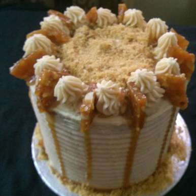 Photo of Salted Caramel Butter Cream Cake with Almond-Cashew Praline by Jaya Rajesh at BetterButter