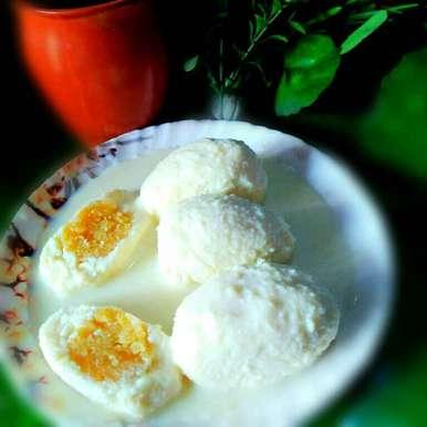 Niramis dimer rasmalai recipe in Bengali,নিরামিষ ডিমের রসমালাই, Juthika Ray