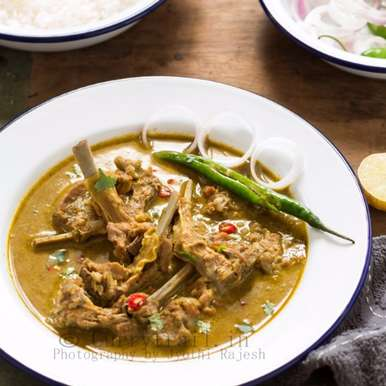 Mom's Mutton Chops Curry recipe in Tamil,அம்மாவின் மட்டன் சாப்ஸ் குழம்பு, Jyothi Rajesh