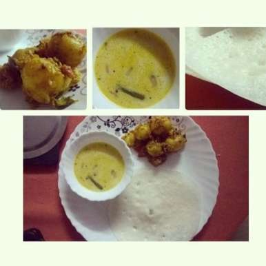 Photo of Kerala Thali: Appam with Stew and Urlai Roast by Kanchan Bakshi at BetterButter