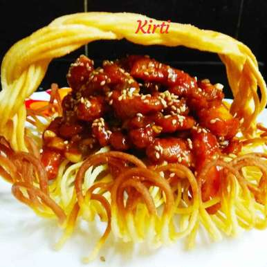 Photo of Noodle basket with honey sesame baked chicken by Kirti Das at BetterButter
