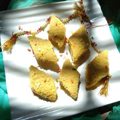 Photo of Fresh coconut yellow barfi with milk powder by Komal jain at BetterButter