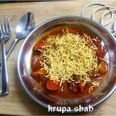 Sev Tomato vegetable (sabji) recipe in Gujarati, સેવ ટામેટા નું શાક, Krupa Shah