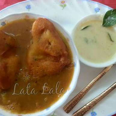 Photo of Bread Pakoda with Sambhar and Coconut Chutney by Lata Lala at BetterButter