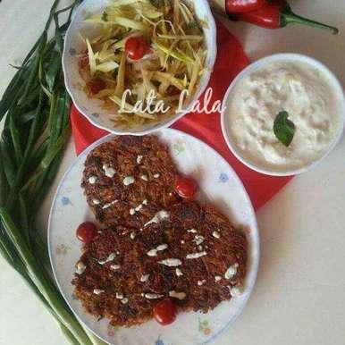 Photo of Thai style Raw Papaya Roasti with hung curd Dip & Raw Papaya and raw mango Coleslaw Salad by Lata Lala at BetterButter
