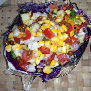 Sweet corn with roasted bell pepper, black gram and mix veg salad, How to make Sweet corn with roasted bell pepper, black gram and mix veg salad